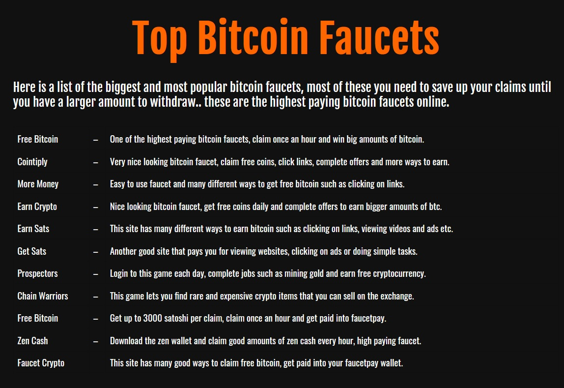 top cryptocurrency faucets